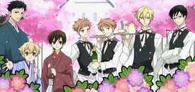 The Host Club dressed as caterers. From left t...