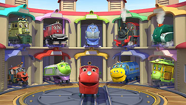 Chuggington characters in their roundhouse