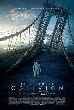 "A man, wearing a white jacket with a gun on his back, walks through a destroyed bridge. The tagline ""Earth is a memory worth fighting for"" appears on the top while Tom Cruise's name, the title of the film, the rating and the rest of the credits appears on the bottom."