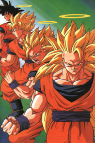 Goku in his regular state, and in several of h...