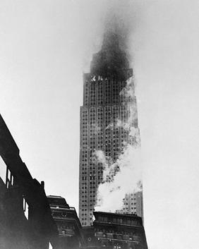 The crash of a b-25 bomber into the empire state building,14 were killed,26 injured