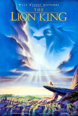 "In an African savannah, several animals stare at a lion atop a tall rock. A lion's head can be seen in the clouds above. Atop the image is the text ""Walt Disney Pictures presents The Lion King""."