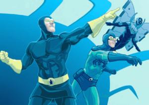 Dan Garrett, Ted Kord, and Jaime Reyes. Art from the Blue Beetle Companion, by Tom Feister.