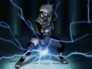 Kakashi using Lightning Blade.