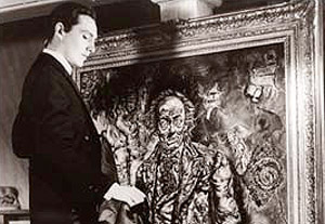 Dorian Gray Observes The Corruption Recorded In His Portrait In The Film The Picture Of Dorian Gray 1945