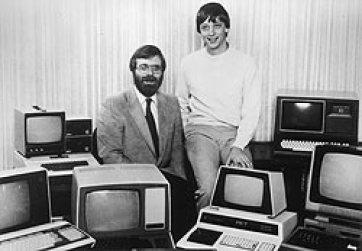 Historic Microsoft photo of Paul Allen (left) ...