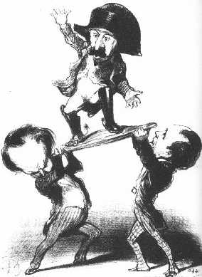 """Messieurs Victor Hugo and Emile de Girardin try to raise Prince Louis upon a shield [in the heroic Roman fashion]: not too steady!"" Honoré Daumier's satirical lithograph published in Charivari, 11 December 1848."