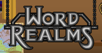 Word Realms   Wikipedia A metallic looking sign with the words Word Realms hanging from chains