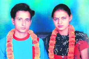 Manoj and Babli after their marriage in Chandi...