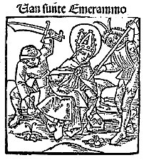 Fifteenth-century woodcut of the martyrdom of St Emmeram, from Wikimedia Commons