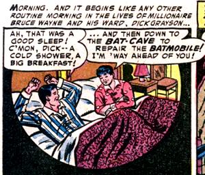 Bruce Wayne and Dick Grayson. Panel from Batma...