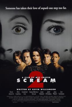 Film poster for Scream 2 - Copyright 1997, Dim...