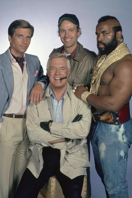 The main cast of The A-Team. Clockwise from to...