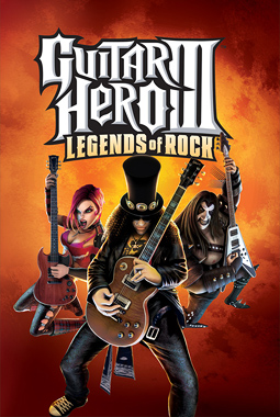 "The title ""Guitar Hero III: Legends of Rock"" appear in big text at the top on an orange-brown, smoke-like background. Three of the game's characters, each dressed in rock attire, posing while playing their guitars, are shown below the title."