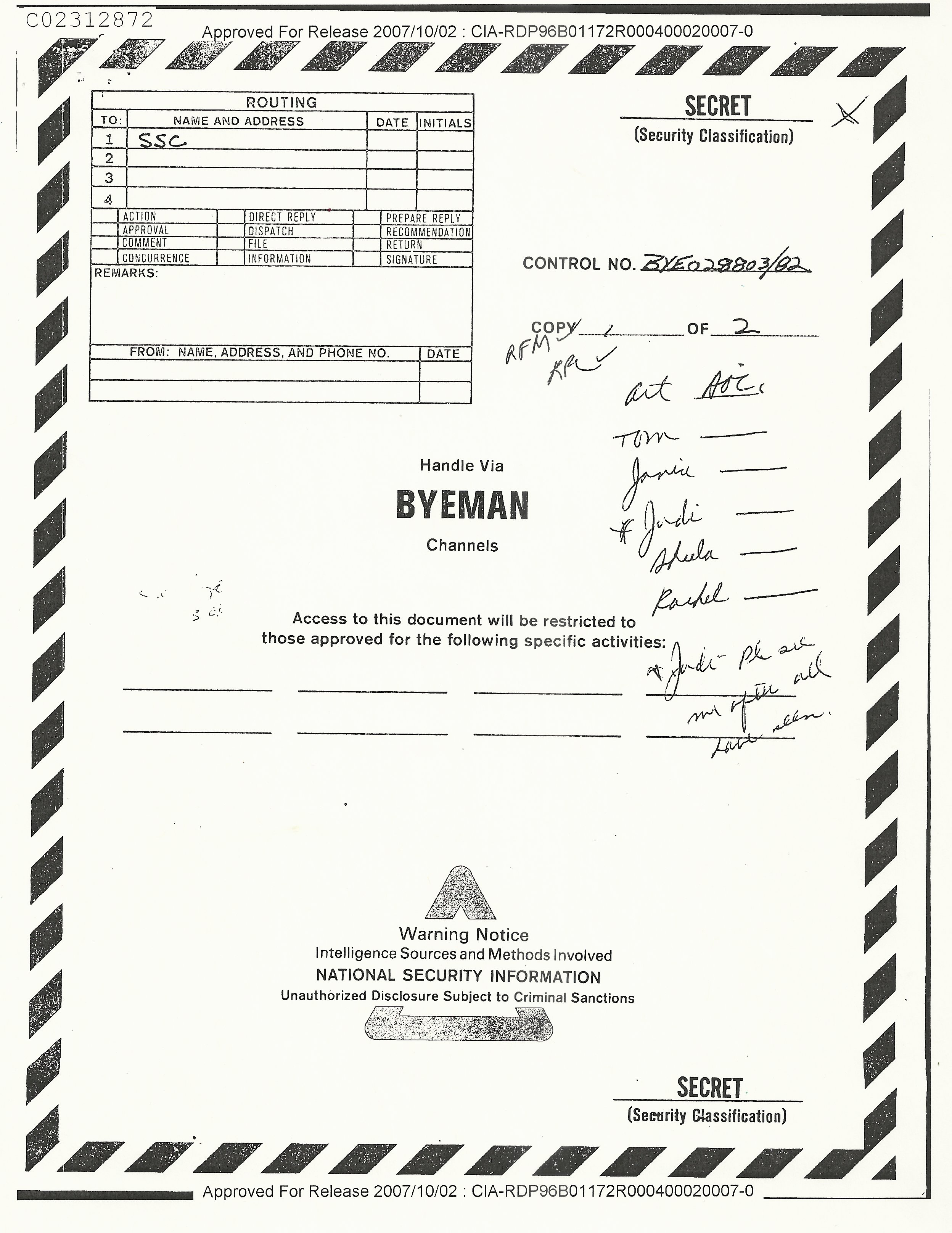 Unclassified Cover Sheet