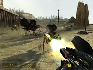 A screenshot of the player engaging a group of...