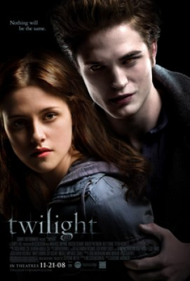 """A pale young man fills the top left of the poster, standing over a brown-haired young woman on the right, with the word """"twilight"""" on the lower right."""