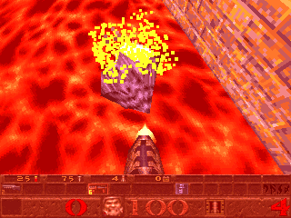 Peter Horvath doing a grenade jump on a Spawn in E4M3 [1] (The Elder God Shrine) in order to jump over a large lava pit.