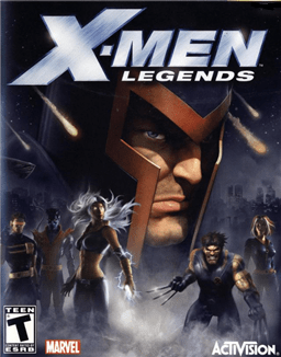 """The words """"X-Men Legends"""" are written across the top, with a textured steel design covering """"X-Men"""". A large head with a helmet fills most of the background. Around the figure is a dark setting, with fog covering the lower portion.  Standing in the fog are five people in combat stances. An ESRB """"T"""" logo appears in the lower left, along with the Marvel Comics logo, while an Activision logo sits in the lower right."""