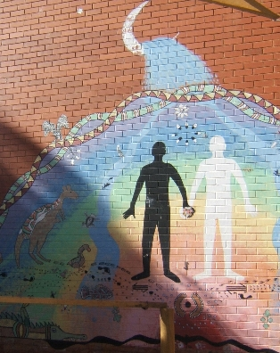 Reconciliation mural painted by indigenous and...