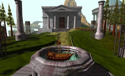 In primo piano, uno degli enigmi legati alla nave, nello sfondo la Biblioteca