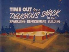 Snack bar ad shown at a drive-in