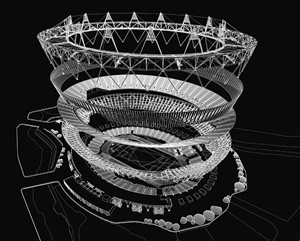 Axonometric view of the Olympic Stadium, showi...