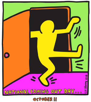National Coming Out Day logo, designed by arti...