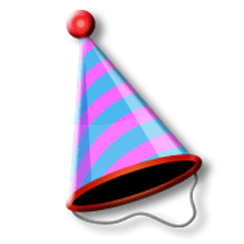 An animated image of a birthday hat.