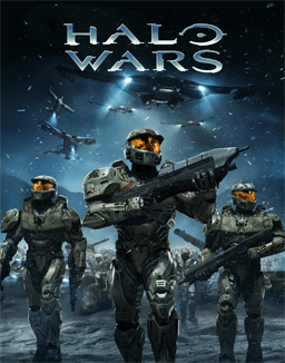 """Three armor-clad soldiers carrying weapons march towards the foreground. Their faces are obscured by helmets with reflective orange visors. Behind the trio are more soldiers; overhead, curved aircraft fly through the sky. The decorative text """"Halo Wars"""" floats above the scene."""