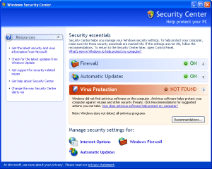 Windows Security Center was added in Service P...