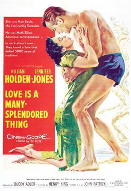 Poster for Love Is a Many-Splendored Thing Jennifer Jones wearing a cheongsam