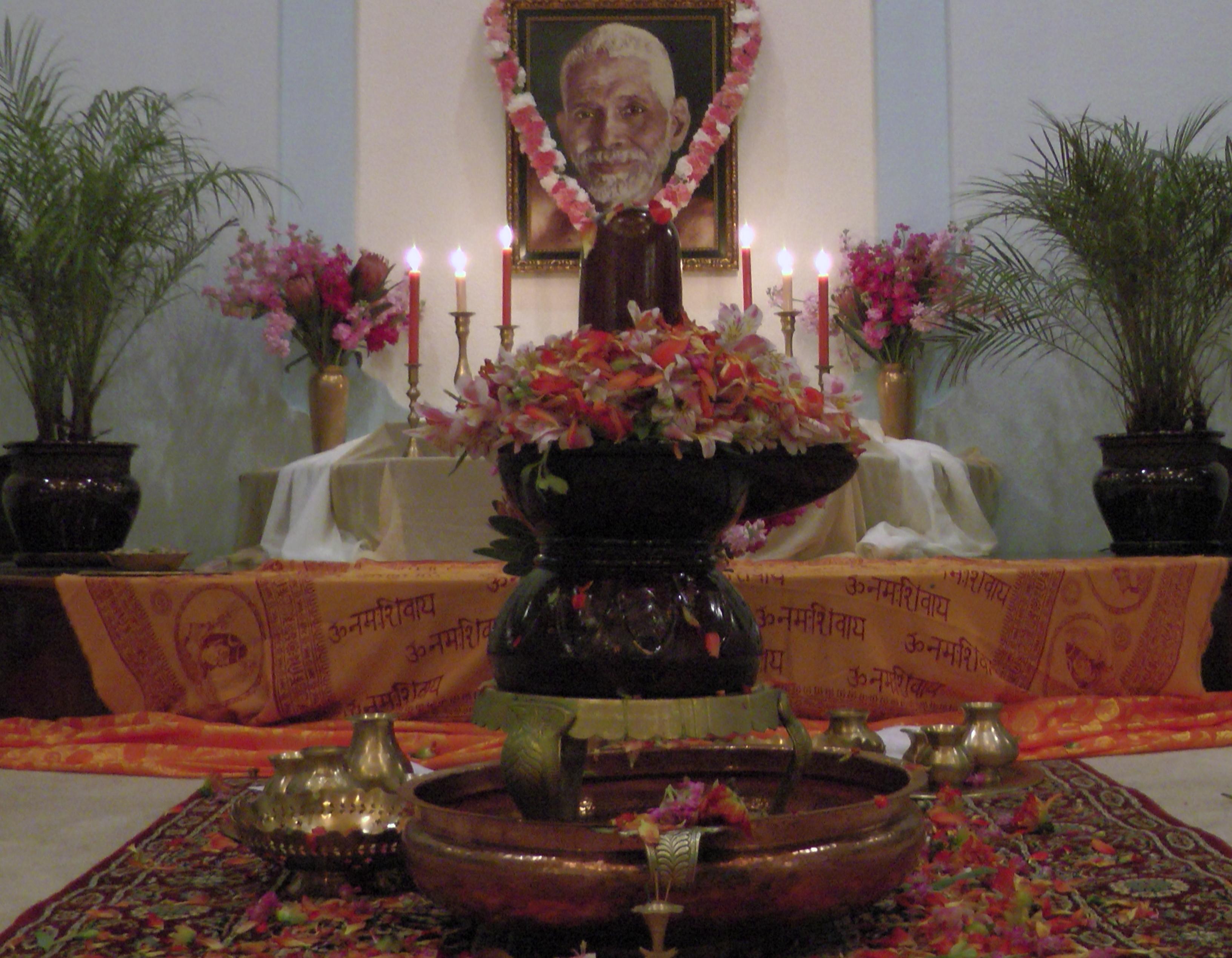 Ramana Maharishi and Shiva Linga.jpg