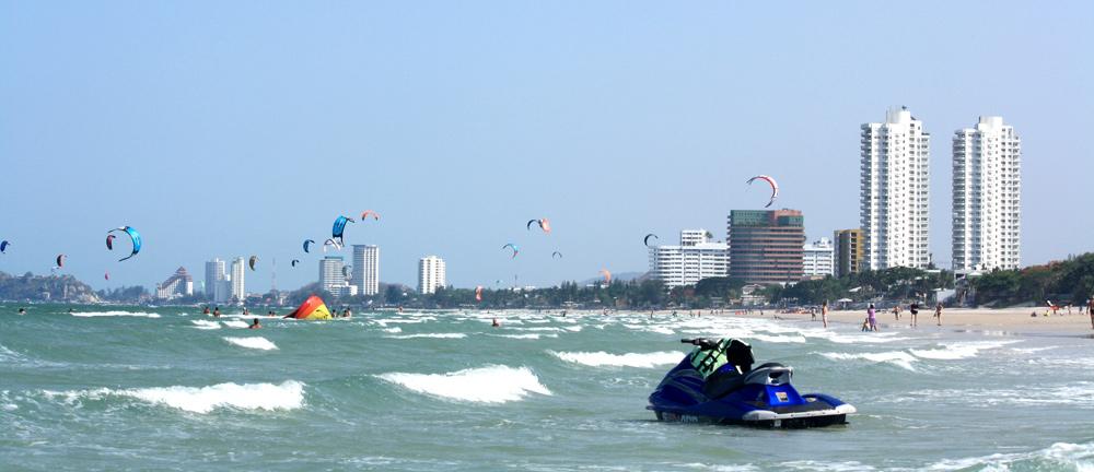 Kiteboarders at Hua Hin beach