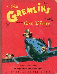 Original 1943 cover of The Gremlins by Roald Dahl