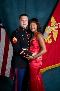 Marine Sergeant Jan Pawel and his bride, Quiana Jenkins-Pietrzak (Courtesy: Wikipedia)