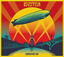 A yellow and red drawing of a zeppelin flying over the Thames in front of Big Ben and the Palace of Westminster, illuminated by spotlights