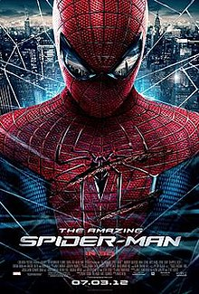 Spider-Man, fatally wounded, swings through New York City. Text at the bottom of the reveals the title, release date, release formats, official site of the film, rating and studio credits.