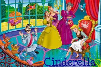 Cinderella fits the glass slipper. From left t...
