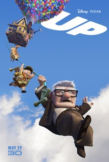 "A house is floating in the air, lifted by balloons. A dog, a boy and an old man hang beneath on a garden hose. ""UP!"" is written in the top right corner."