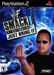 The cover art for the NTSC version of WWF SmackDown! Just Bring It.
