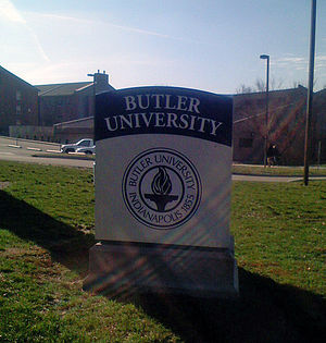 A marker at the entrance of Butler University ...