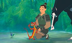 From left to right: Cri-Kee; Mushu; Fa Mulan; Kahn