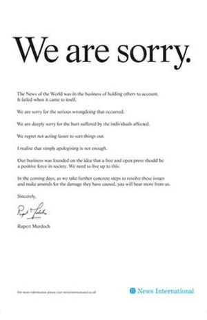 A full-page apology ad published in British ne...