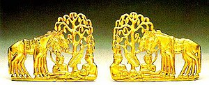 Golden plaques representing the resurrection o...