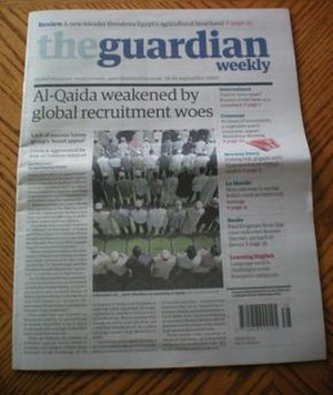 Front page of The Guardian Weekly on the eight...