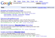 Google bombing here causes the search query