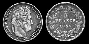 Silver five-franc coin featuring Louis Philipp...