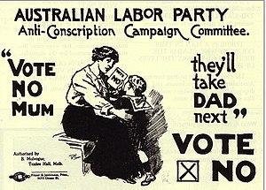 An Australian anti-conscription poster from Wo...