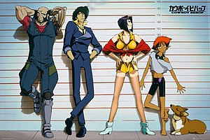 From left to right: Ein, Edward, Spike Spiegel...